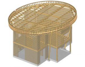 charpente bois toit rond